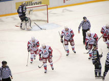 Almost scored a goal. The game between HC Lokomotiv and HC Sochi Royalty Free Stock Photo