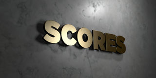 Scores - Gold sign mounted on glossy marble wall  - 3D rendered royalty free stock illustration Stock Image