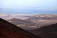 Scoria  field and cones near Tolbachinskiy volcano. Stock Image