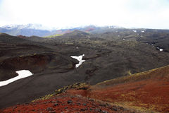 Scoria  field and cones near Tolbachinskiy volcano. Stock Photo