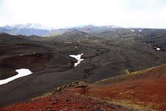 Scoria  field and cones near Tolbachinskiy volcano. Stock Photo