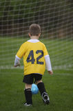 Scoring Goal. Young Child Scoring Soccer Goal Royalty Free Stock Photo