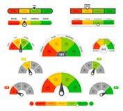 Scoring indicators. Goods gauge speedometers, rating meter indicators. Credit score manometers, loan history graphs. Vector illustration set vector illustration