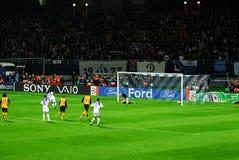 Scoring a penalty kick. Dinamo kiev scoring a penalty kick against Arsenal, uefa champions' league 2008 Royalty Free Stock Photo
