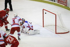 Scoring in Slavia Prague vs. Lev Prague match Royalty Free Stock Photos