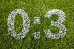 0:3 scoring. On soccer meadow Stock Images