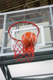Scoring the winning points at a basketball game stock images