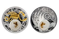 Scorpio астрологии серебряной монеты Беларуси стоковые фото