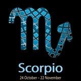 scorpio Орнаментальный декоративный знак зодиака вектора Астурии иллюстрация вектора