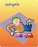 Scorpio. Collection of 12 children horoscopes and characters Royalty Free Stock Photos