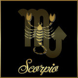 Scorpio. Artistic astrological astrology bright  decorative design element emblem framed gold golden graphic horoscope icon illustration  metal metallic Stock Images