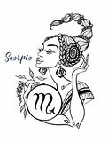 The Scorpio astrological sign as a beautiful girl. Horoscope. Astrology. Coloring. Vector royalty free illustration