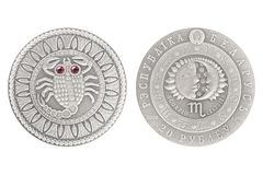 Scorpio Belarus silver coin. 2009 isolated white background royalty free stock photo