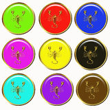 Scorpio horoscope buttons Stock Photography
