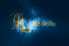 Scorpio Horoscope Sign. Abstract night sky background. Horoscope Symbol and Text vector illustration