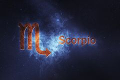 Scorpio Horoscope Sign. Abstract night sky background stock photos