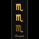 Scorpio Horoscope Symbols. Golden embossed zodiac icons in three styles for the astrology Water Sign, Scorpio, with textured black background Stock Photos