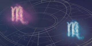 Scorpio i Scorpio horoskopu znaków kompatybilność Nocnego nieba Abs Obrazy Stock