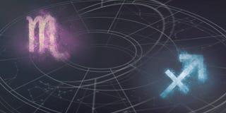 Scorpio i Sagittarius horoskopu znaków kompatybilność pozyskiwania ilustracyjny błyskawica nocne niebo Zdjęcia Stock