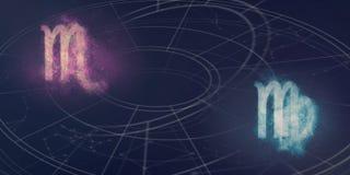 Scorpio i Virgo horoskopu znaków kompatybilność Nocnego nieba Abstr Zdjęcia Stock