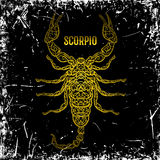 Scorpio. Ornate vintage golden Zodiac sign on grunge background. Royalty Free Stock Images