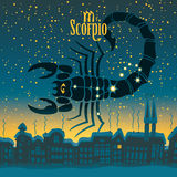 Scorpio. Sign in the starry sky night city Royalty Free Stock Photo