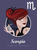 Scorpio sign vector. Female scorpio sign vector illustration Stock Photography