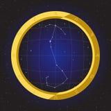 Scorpio star horoscope zodiac in fish eye telescope with cosmos background. Scorpio star horoscope zodiac in fish eye telescope golden ring frame with cosmos Royalty Free Stock Photos