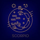 Scorpio vector signs of the zodiac in circles of golden color on a white background. stock illustration
