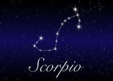 Scorpio zodiac constellations sign on beautiful starry sky with galaxy and space behind. Scorpio horoscope symbol constellation on. Deep cosmos background Stock Image