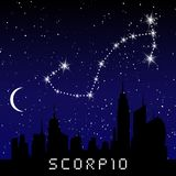 Scorpio zodiac constellations sign on beautiful starry sky with galaxy and space behind. Scorpio horoscope symbol constellation on. Deep cosmos background Stock Images