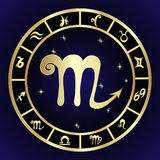 Scorpio zodiac sign in circle frame Royalty Free Stock Images