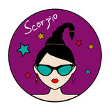 Scorpio zodiac sign, female avatar Stock Image