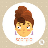 Scorpio zodiac sign, girl with hair like scorpion tail Royalty Free Stock Images