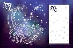 Scorpio zodiac sign.Horoscope circle.Space dark sky Royalty Free Stock Images