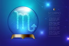 Scorpio Zodiac sign in Magic glass ball, Fortune teller concept design illustration. On blue gradient background with copy space, vector eps 10 Royalty Free Stock Photo