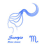 Scorpio zodiac sign. Stylized female contour profile. Stock Images