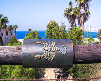 Scorpio zodiac sign on the Wishing Bridge. Jaffa. Israel royalty free stock photo