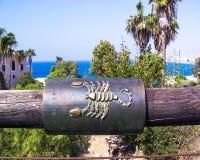 Scorpio zodiac sign on the Wishing Bridge. Jaffa. Royalty Free Stock Photo