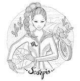 Scorpio zodiac sign young woman motorcyclist Stock Images