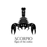 Scorpio zodiac. Signs of the zodiac. Scorpio hand draw. Black silhouette and white details. Vector illustration isolated on a white background Stock Photography