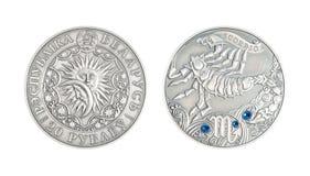 Scorpion astrologique de signe de pièce en argent Photographie stock libre de droits