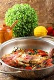 Scorpion fish in the pan Stock Photos