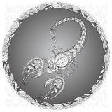 Scorpion in a floral frame. On gray background Royalty Free Stock Images