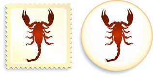 Scorpion stamp and button Royalty Free Stock Photo