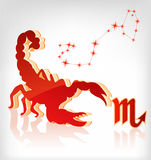 Scorpion zodiac astrology icon for horoscope Royalty Free Stock Photos