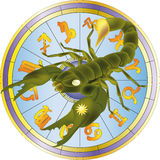 Scorpion and zodiac signs Royalty Free Stock Photo