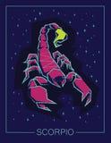 Scorpione del segno dello zodiaco sul fondo del cielo notturno Fotografia Stock