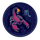 Scorpione del segno dello zodiaco sul fondo stellato di notte Fotografie Stock Libere da Diritti