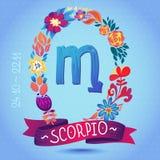 SCORPIONE del segno dello zodiaco, in una corona floreale dolce Segno, fiori, foglie e nastro dell'oroscopo Immagini Stock